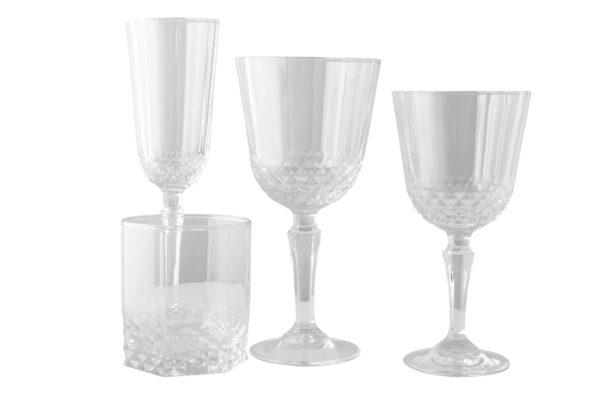alquiler cristaleria con vaso tallada vintage