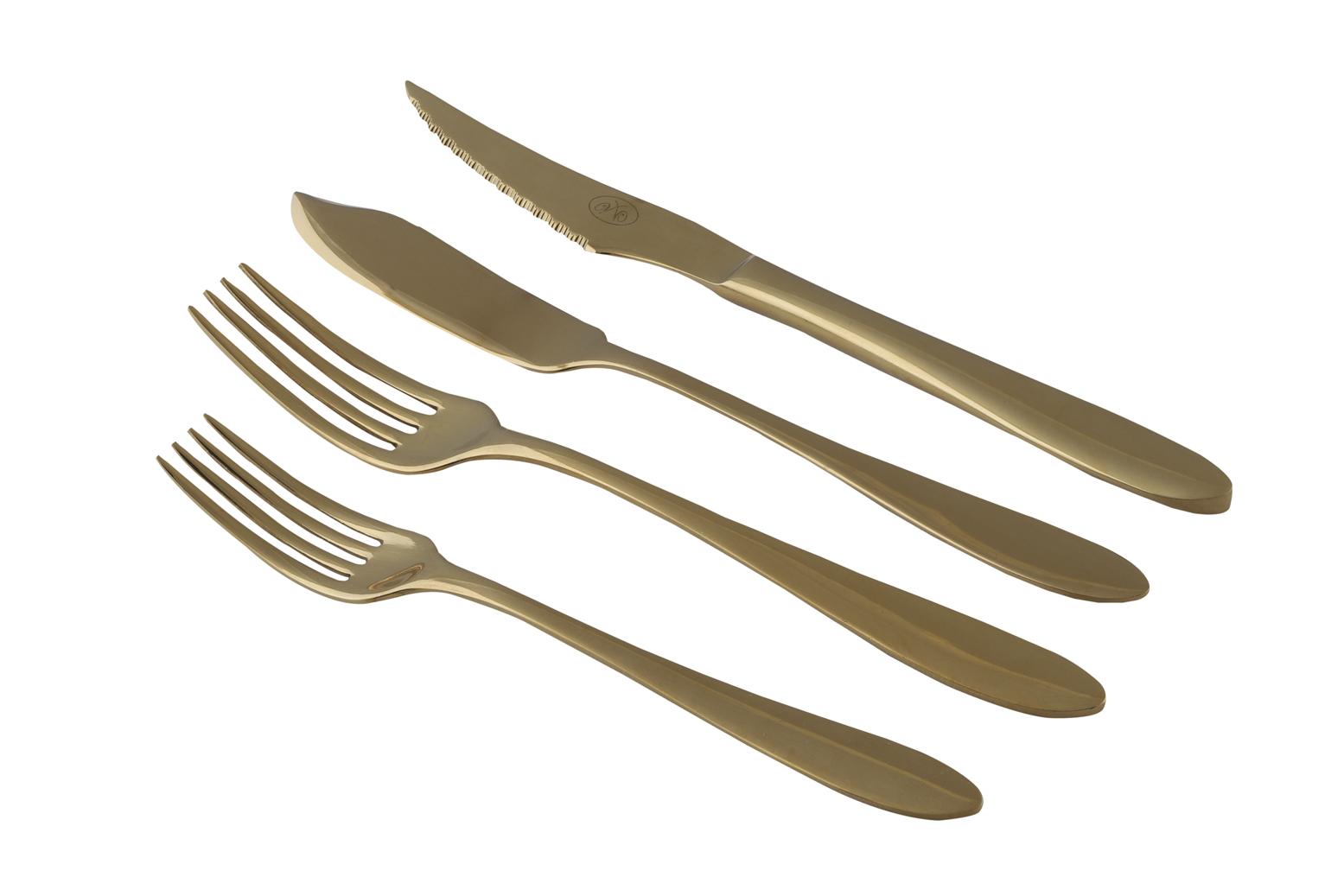 Tenedor postre, trinchero, pala pescado y cuchillo dorados